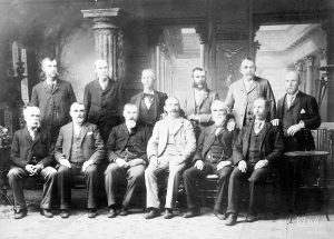 The Jury of men for Lizzie's trial.
